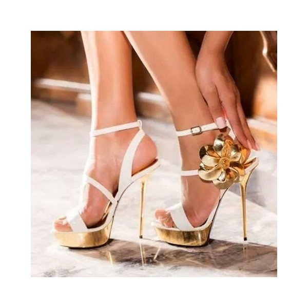White and Gold Evening Shoes Floral Platform Stiletto Heels Sandals image 1