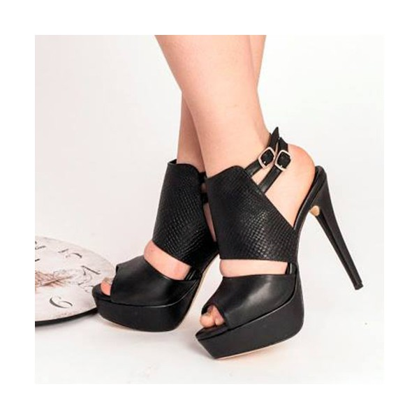 Women's  Black Peep Toe Ankle Buckle Stiletto Heel Slingback Shoes image 1