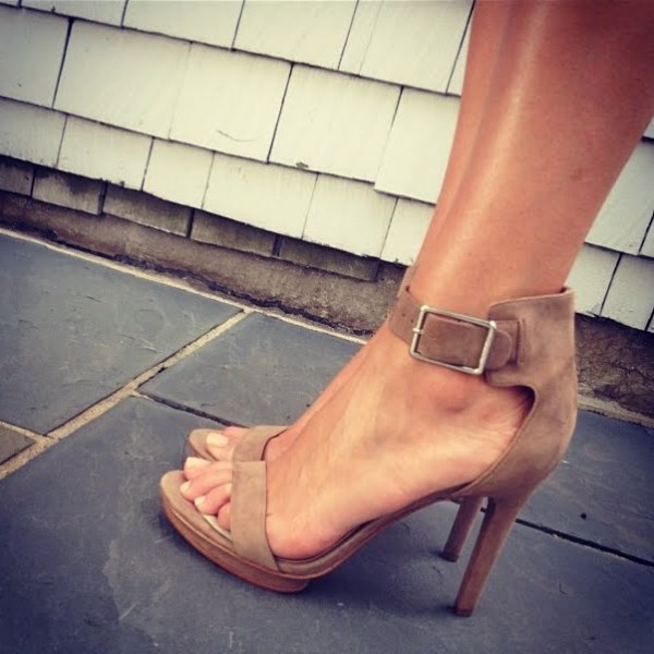 Women's Camel Suede Buckle Stiletto Heel Ankle Strap Sandals image 1