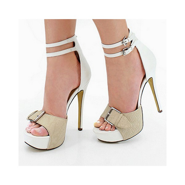 White Ankle Strap Sandals Buckles Open Toe Stiletto Heels with Platform image 1