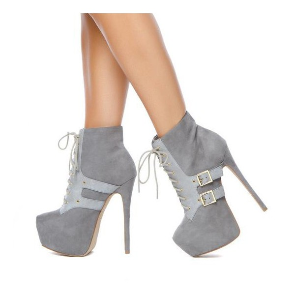 Women's Vita Grey Lace up Boots Stiletto Buckles Platform Ankle Boots image 1