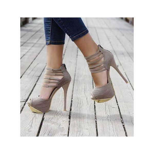 Women's Vita Grey Peep Toe Stiletto Heel  Ankle Strap Sandals image 1