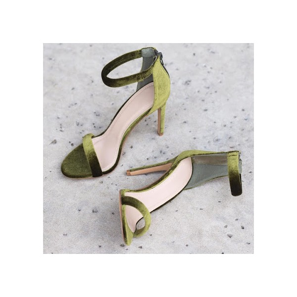 Green Ankle Strap Sandals Suede Open Toe Stiletto Heels image 1
