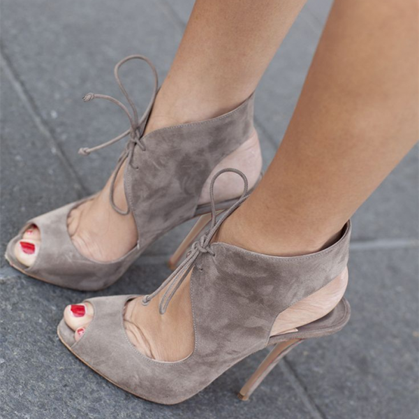 Grey Lace Up Heels Peep Toe Cut Out Slingback Pumps Suede