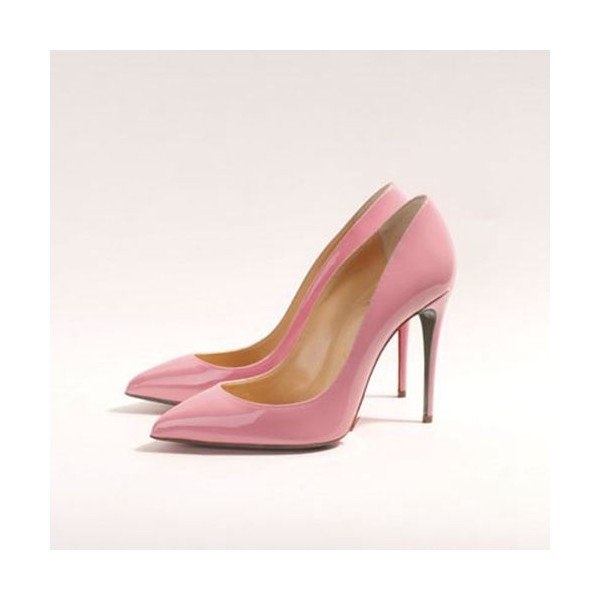 Pink Stiletto Heels Pointy Toe Patent Leather Cute Pumps image 1