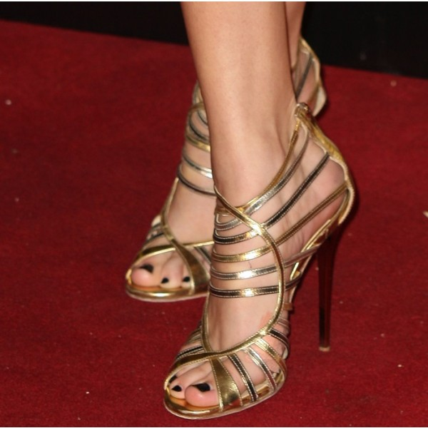 Gold Evening Shoes Strappy Sandals Open Toe Stiletto Heels for ...