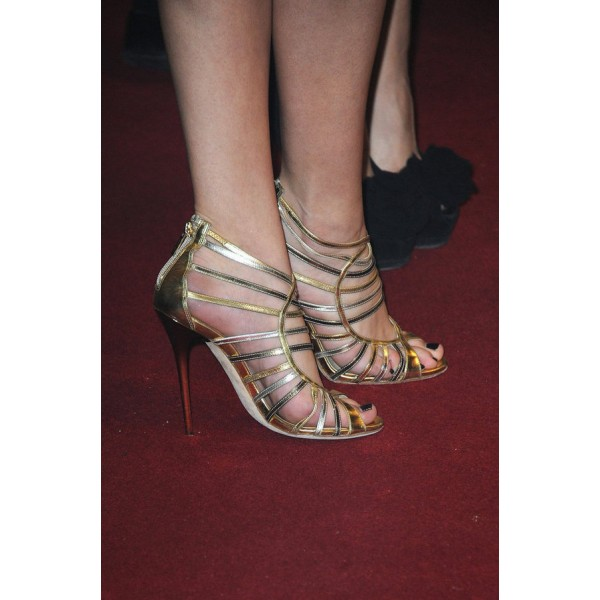 Gold Evening Shoes Strappy Sandals Open Toe Stiletto Heels image 3