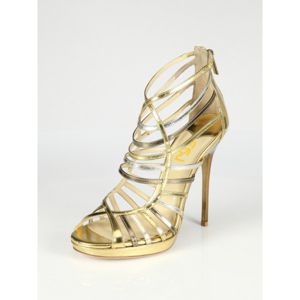 Gold Evening Shoes Strappy Sandals Open Toe Stiletto Heels image 5