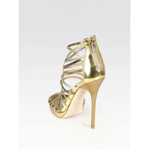 Gold Evening Shoes Strappy Sandals Open Toe Stiletto Heels image 4