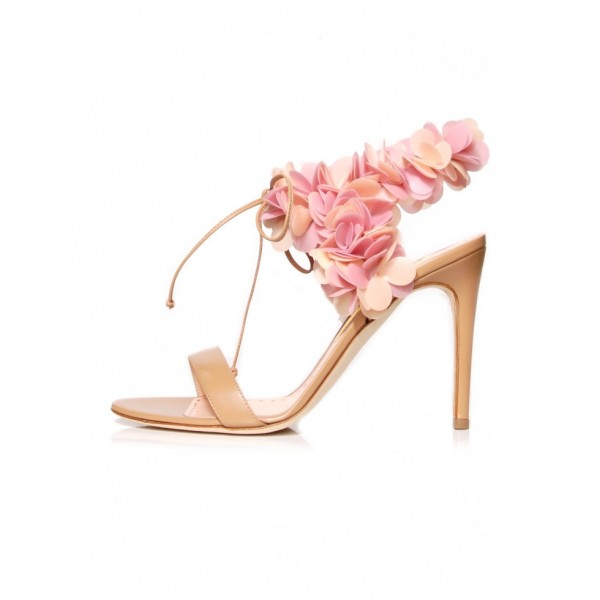 Peach Pink Floral Wedding Shoes Stiletto Heel Sandals for Bridesmaid image 2