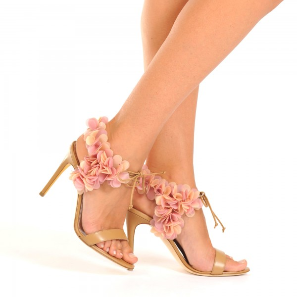 Peach Pink Floral Wedding Shoes Stiletto Heel Sandals for Bridesmaid image 4