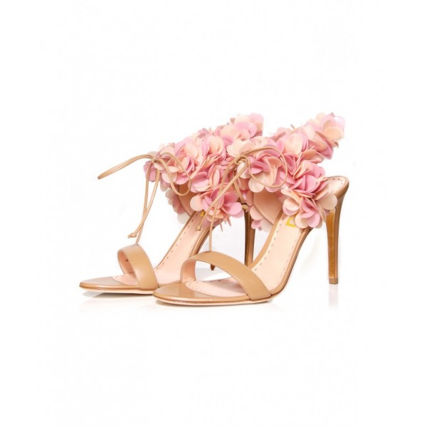 Peach Pink Floral Wedding Shoes Stiletto Heel Sandals for Bridesmaid image 3