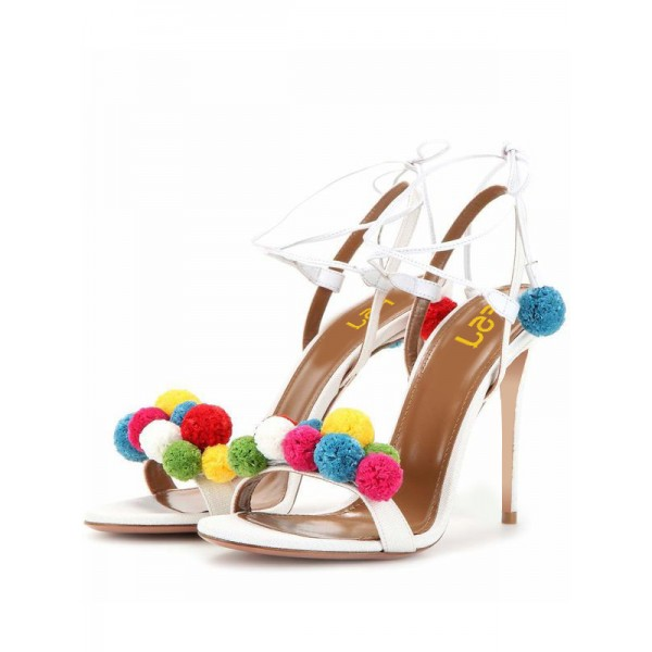 White Bridal Sandals Strappy Heels with Colorful Fuzzy Balls image 1