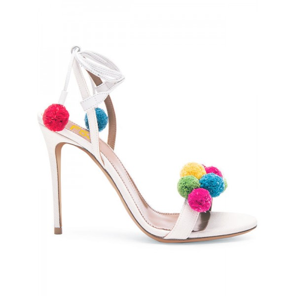 White Pom Pom Shoes Strappy Stiletto Heel Sandals for Wedding image 2
