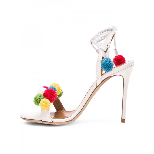 White Bridal Sandals Strappy Heels with Colorful Fuzzy Balls image 3