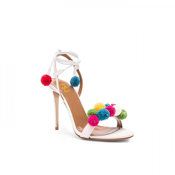 White Bridal Sandals Strappy Heels with Colorful Fuzzy Balls image 4