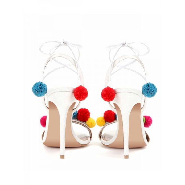 White Bridal Sandals Strappy Heels with Colorful Fuzzy Balls image 5