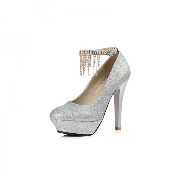 Silver Sparkly Heels Ankle Strap Pumps Glitter Shoes with Platform ...