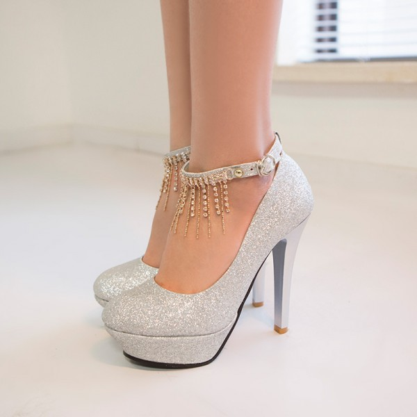 Silver Sparkly Heels Ankle Strap Pumps Glitter Shoes with Platform image 3