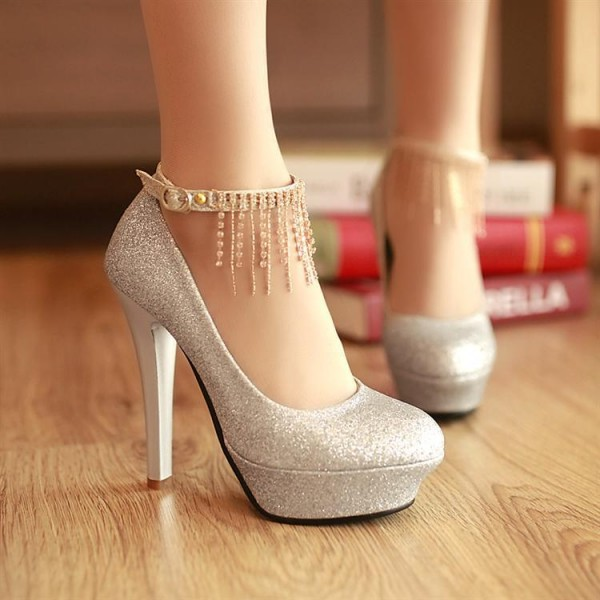 Silver Sparkly Heels Ankle Strap Pumps Glitter Shoes with Platform image 4