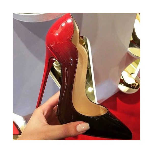 Red and Black Gradient Stiletto heels Pointed Toe Pumps image 4