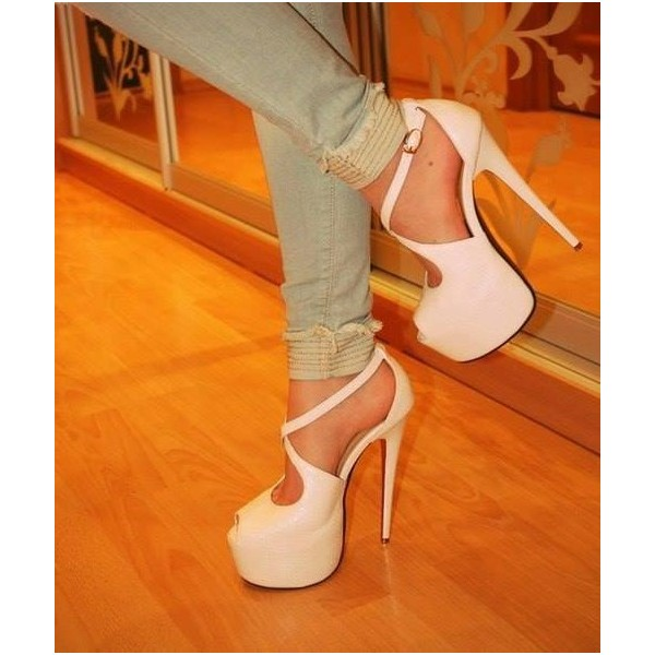 Ivory Heels Peep Toe Cross-over Strap Stilettos Platform Sandals image 1