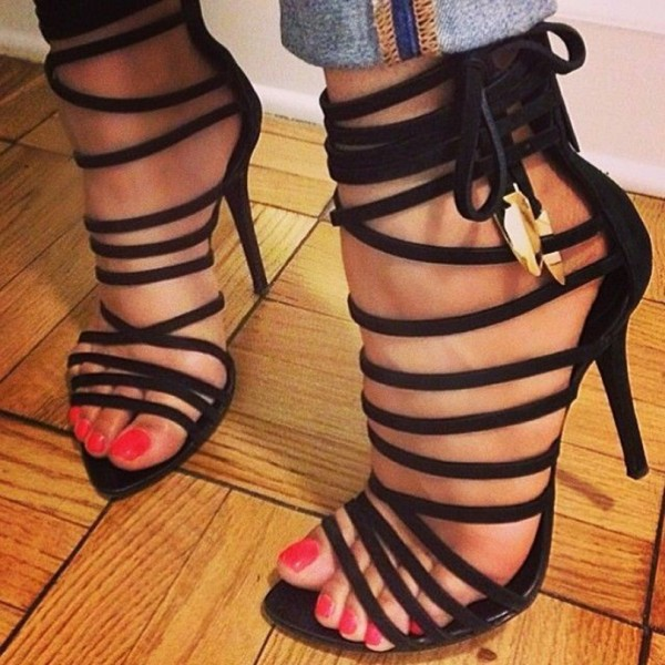 Black Strappy Sandals Open Toe Sexy 5 Inches Stiletto Heel Suede ...