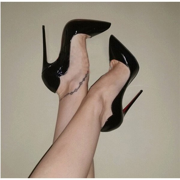 Black Dress Shoes Formal 5 Inch Stiletto Heel Pumps image 6