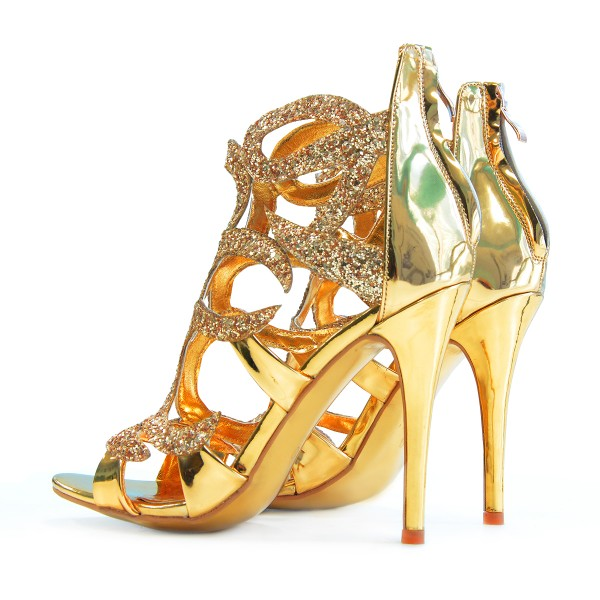 Golden Caged Upper Stiletto Heel Sandals image 5