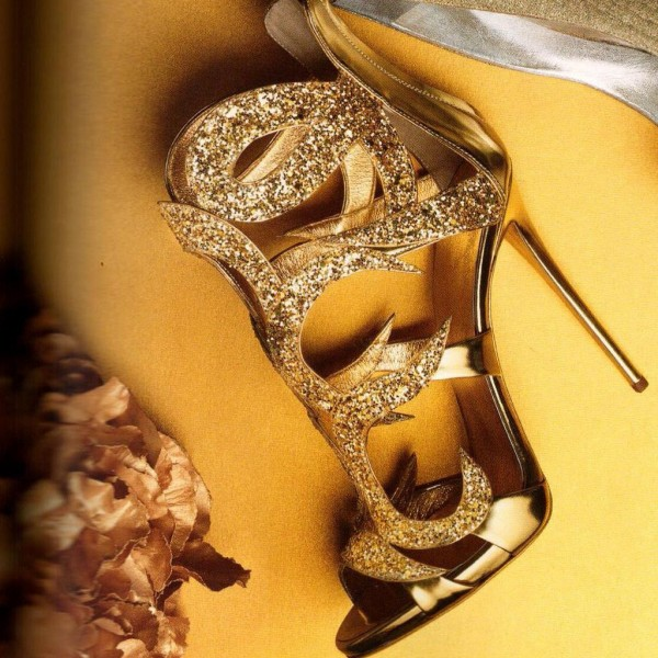 Gold Evening Shoes Cage Sandals 5 Inches Stiletto Heels Glitter Shoes image 1