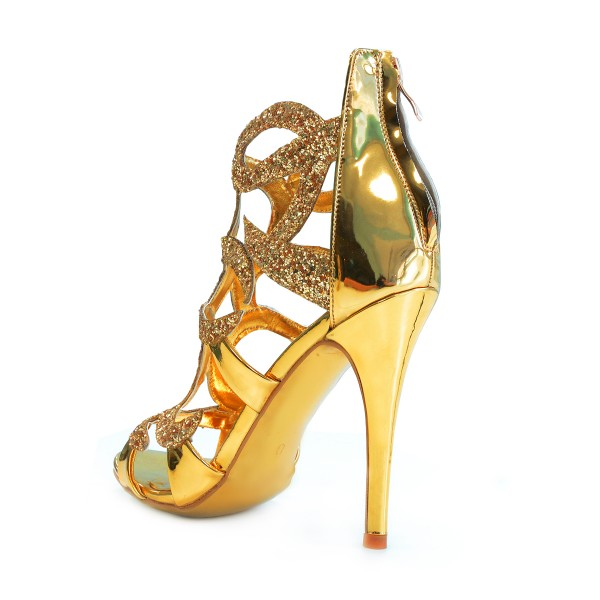 Gold Evening Shoes Cage Sandals 5 Inches Stiletto Heels Glitter Shoes image 4