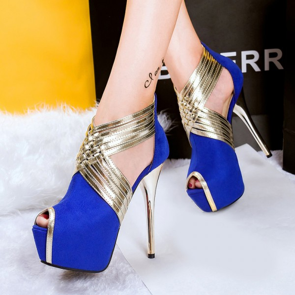 Royal Blue Peep Toe Platform Stiletto Heel Stripper Shoes image 2
