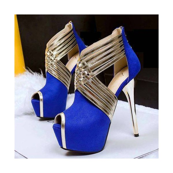 Royal Blue Peep Toe Platform Stiletto Heel Stripper Shoes image 1