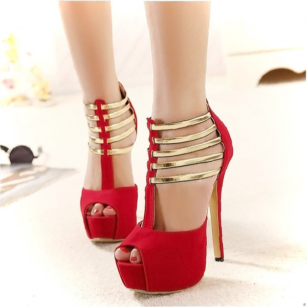 5d36ddbf88d Coral Red Peep Toe Heels Gold T Strap Sandals Stiletto Heels