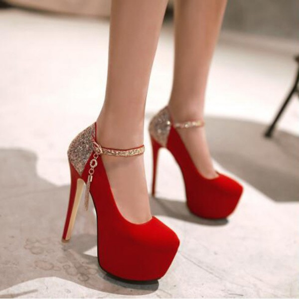 Coral Red Gold Ankle Buckle Stiletto Pumps with Platform shoes image 2