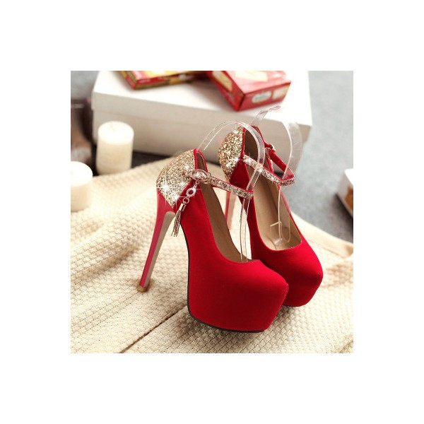 Coral Red Gold Ankle Buckle Stiletto Pumps with Platform shoes image 3