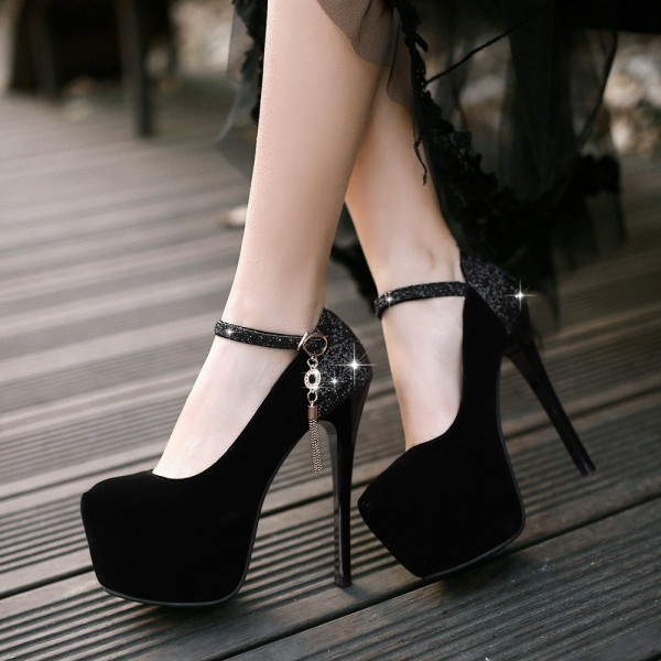 Black Platform Heels Glitter Suede Stilettos High Heel Shoes image 1