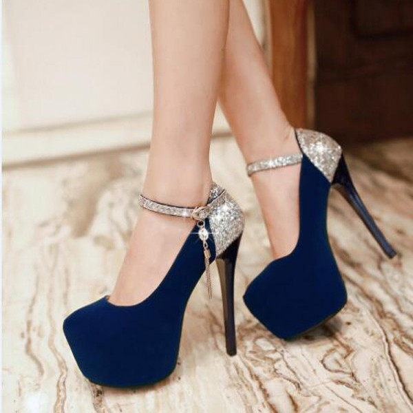 Navy Blue Heels Suede and Glitter Platform High Heel Shoes image 2