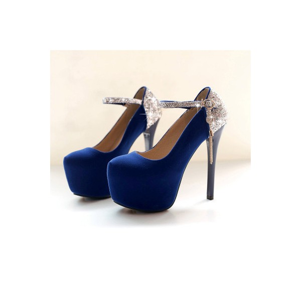 Navy Blue Heels Suede and Glitter Platform High Heel Shoes image 3
