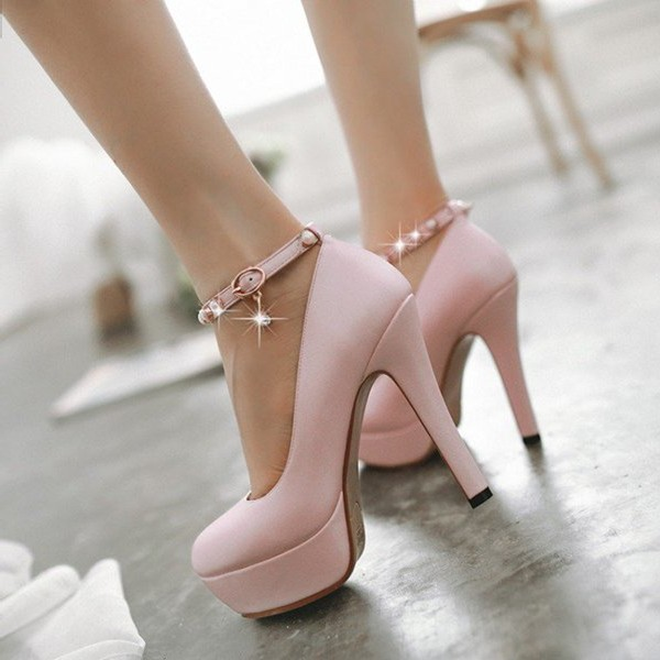 Nude Pink Ankle Strap Stiletto Pumps with Platform Shoes image 1