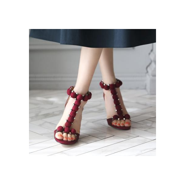 Burgundy T Strap Sandals Stiletto Heels Suede Open Toe Heels image 3