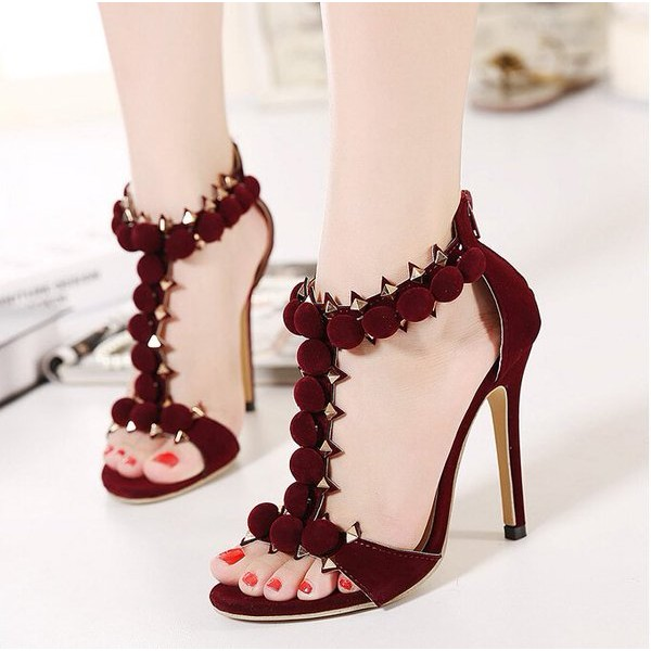 Burgundy T Strap Sandals Stiletto Heels Suede Open Toe Heels image 1