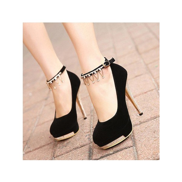Black Ankle Strap Heels Platform Pumps Suede Shoes with Rhinestone image 2