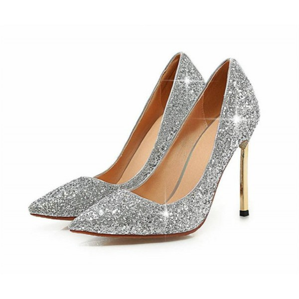 Silver Glitter Shoes Pointy Toe Blade Stiletto Heel Sparkly Pumps image 2