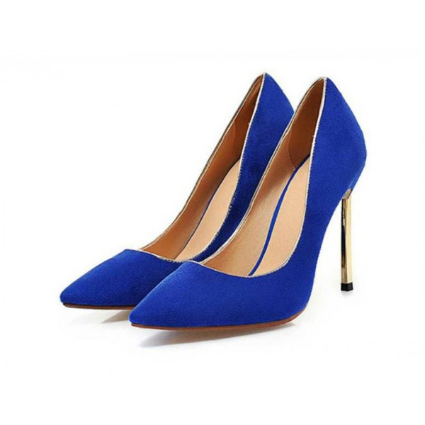 Royal Blue Heels Pointy Toe Suede Pumps Stiletto Heels image 3