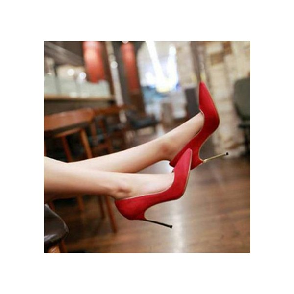 Coral Red Stiletto Heel Wedding Shoes image 3