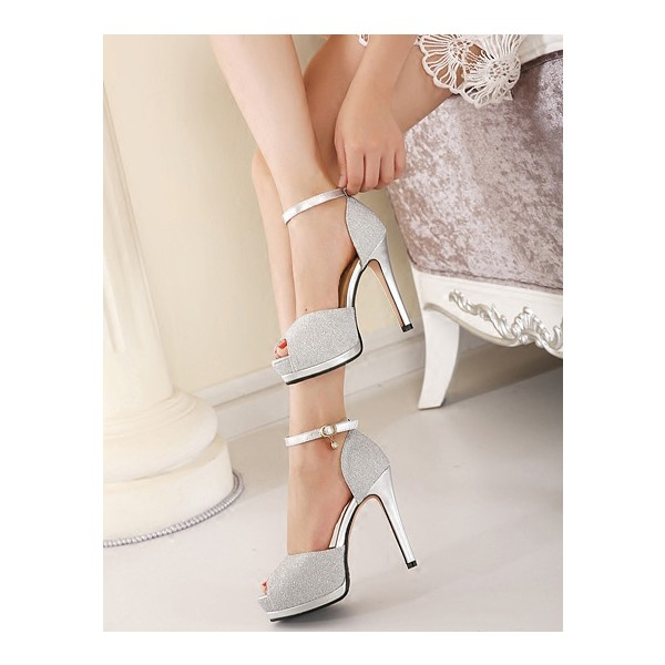 Women's Silver Buckle Stiletto Heels Peep Toe Ankle Strap Sandals image 2