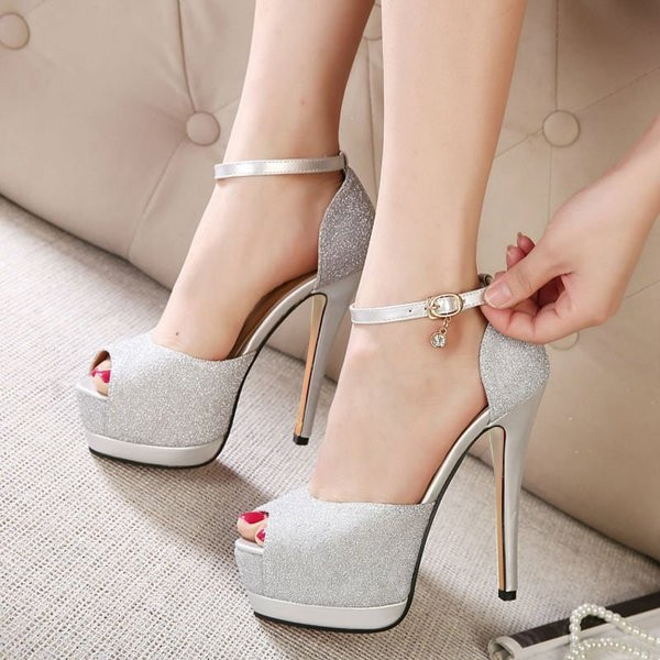 Women's Silver Buckle Stiletto Heels Peep Toe Ankle Strap Sandals image 1
