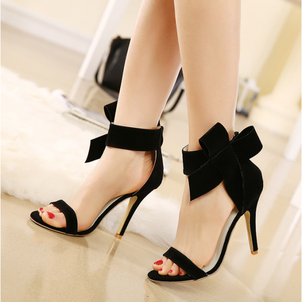 Black Side Bow Heels Open Toe Ankle Strap Stiletto Heel Sandals image 2