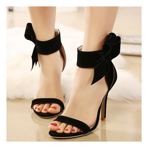 Leila Black Ankle Straps Bow Stiletto Heel Sandals image 1